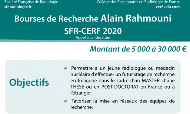 Bourses de Recherche Alain Rahmouni SFR-CERF 2020