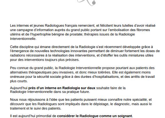 Aujourd'hui près d'un interne en Radiologie sur deux souhaite faire de la Radiologie Interventionnelle dans sa pratique future !